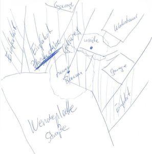 Skizze vom neuen Standort der Platane bzw. des Blauglockenbaumes